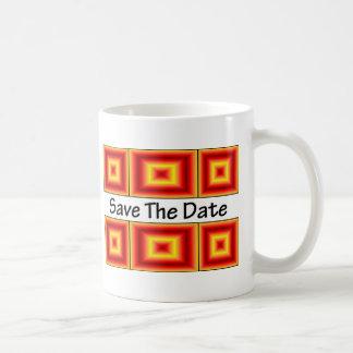 Ahorre el naranja del fuego de la fecha taza clásica