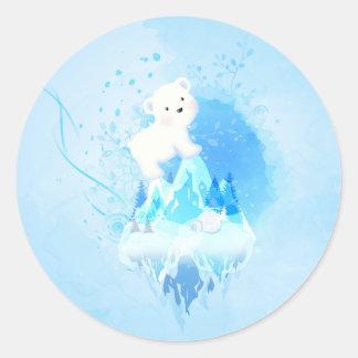 ¡Ahorre el oso polar! Pegatina Redonda