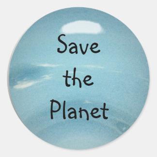 Ahorre el planeta pegatina redonda