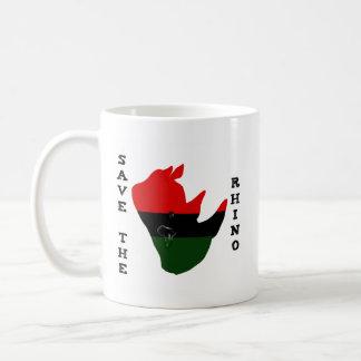 Ahorre el rinoceronte con blanco del rasgón de taza de café