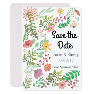 Ahorre el tema floral de la fecha invitación 12,7 x 17,8 cm