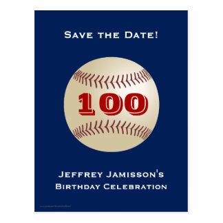 Ahorre la 100a postal del béisbol del cumpleaños d