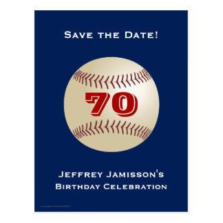 Ahorre la 70.a postal del béisbol del cumpleaños d