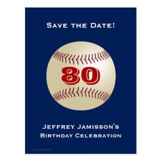 Ahorre la 80.a postal del béisbol del cumpleaños d