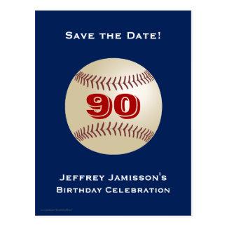 Ahorre la 90.a postal del béisbol del cumpleaños d