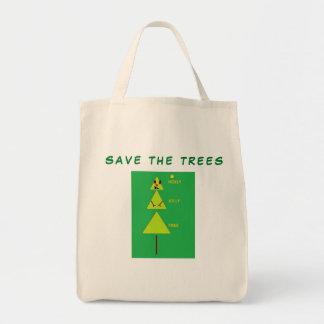 Ahorre la bolsa de asas de encargo de los árboles