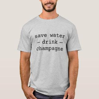 Ahorre la camisa del champán de la bebida del agua