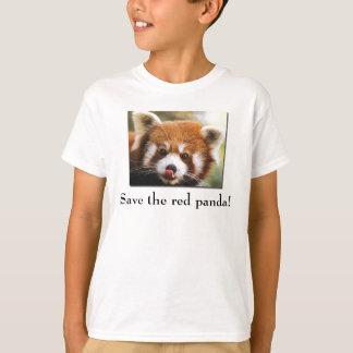 Ahorre la camiseta del niño de la panda roja