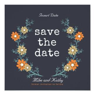 Ahorre la corona floral de la fecha invitación 13,3 cm x 13,3cm