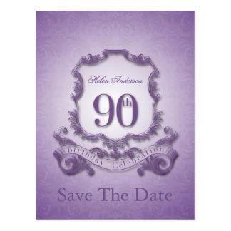 Ahorre la fecha - 90.o cumpleaños personalizado postal