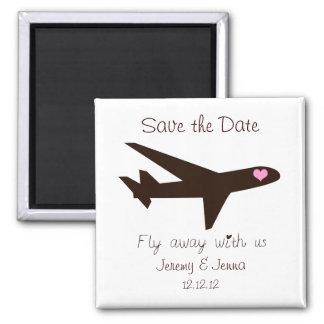 Ahorre la fecha: Aeroplano Imán Cuadrado