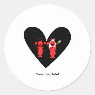 ¡Ahorre la fecha! Boda de la langosta Pegatina Redonda
