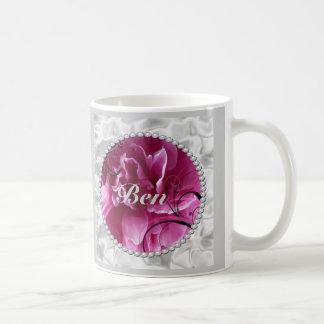Ahorre la fecha con las perlas y diseño floral ros taza de café
