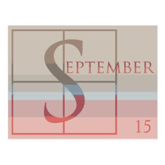 Ahorre la fecha con un septiembre muy tipográfico postal
