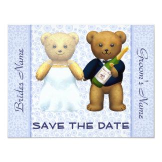 Ahorre la fecha - el boda azul de los osos de invitación 10,8 x 13,9 cm