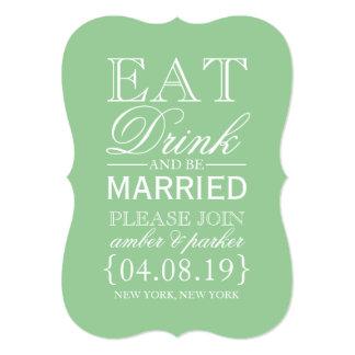 Ahorre la fecha el | comen la bebida y esté casado invitación 12,7 x 17,8 cm