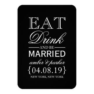Ahorre la fecha el | comen la bebida y esté casado invitación 8,9 x 12,7 cm
