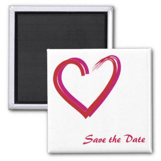 Ahorre la fecha/el corazón imán cuadrado