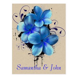 Ahorre la fecha - flores azules postal