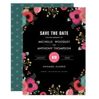 Ahorre la fecha. Invitaciones florales modernas