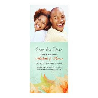 Ahorre la fecha - la foto floral anaranjada de la invitación 10,1 x 23,5 cm