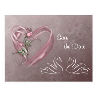 Ahorre la fecha - los corazones y los cisnes. postal