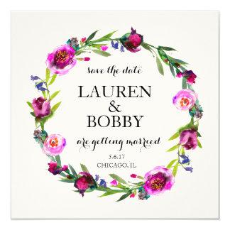 Ahorre la fecha - marco floral de la guirnalda de invitación 13,3 cm x 13,3cm