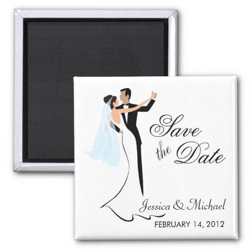 Ahorre la fecha - novia y novio del baile iman para frigorífico