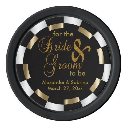 Ahorre la fecha para la novia y el novio juego de fichas de póquer