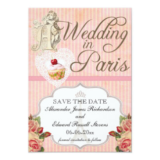 Ahorre la fecha para un boda gay en París Invitación 12,7 X 17,8 Cm