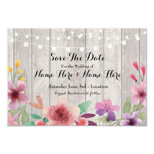 Ahorre la fecha que las luces florales rústicas de invitación 8,9 x 12,7 cm