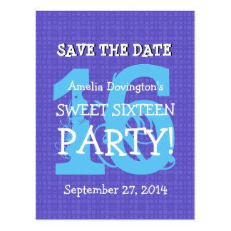 Ahorre la fiesta de cumpleaños azul púrpura del tarjeta postal