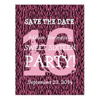 Ahorre la fiesta de cumpleaños rosada de la cebra postales