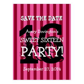 Ahorre la fiesta de cumpleaños rosada de la raya postal