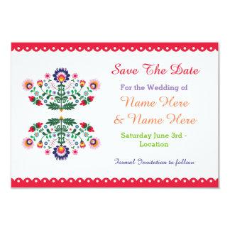 Ahorre la fiesta de la fecha que el boda floral invitación 8,9 x 12,7 cm