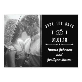 Ahorre la foto blanco y negro moderna de la fecha invitación 12,7 x 17,8 cm