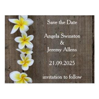 Ahorre la invitación de boda rústica del Plumeria Postal