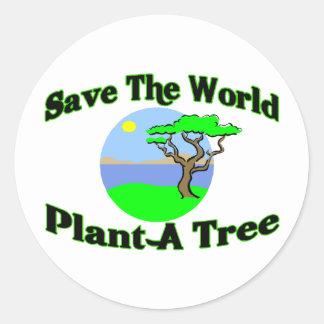 Ahorre la planta del mundo un árbol pegatina redonda