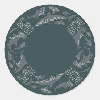Ahorre la salvación de los tiburones pegatina redonda