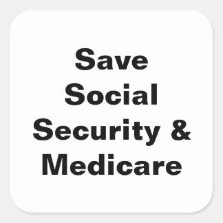 Ahorre la Seguridad Social y Seguro de enfermedad Pegatina Cuadrada