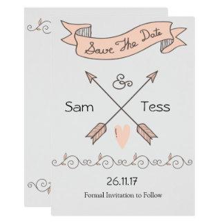 Ahorre la tarjeta del vintage de la fecha invitación 11,4 x 15,8 cm