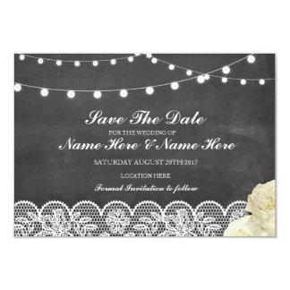 Ahorre la tarjeta rústica de las luces del cordón invitación 8,9 x 12,7 cm