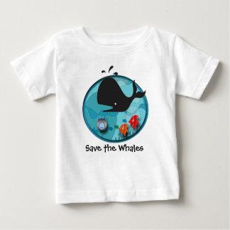 Ahorre las ballenas camiseta de bebé