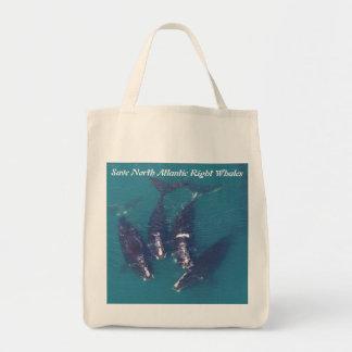 Ahorre las ballenas derechas de Atlántico Norte Bolso De Tela