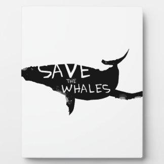 Ahorre las ballenas placa expositora