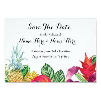 Ahorre las luces tropicales de la hawaiana rústica invitación 8,9 x 12,7 cm