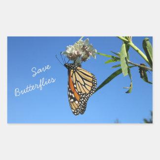Ahorre las mariposas pegatina rectangular