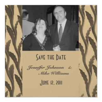 Ahorre las ramas de Biege Brown de la fecha Invitación 13,3 Cm X 13,3cm