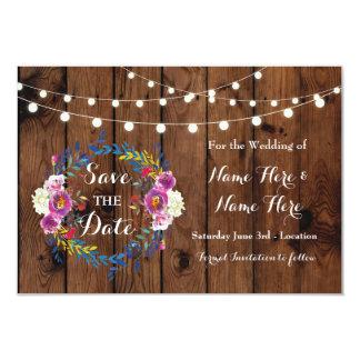 Ahorre las tarjetas florales de madera del invitación 8,9 x 12,7 cm