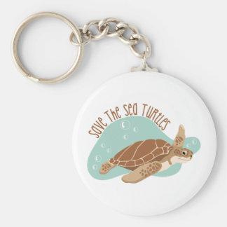 Ahorre las tortugas de mar llavero redondo tipo chapa